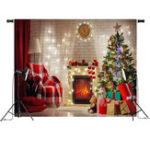 New 7x5FT Red Christmas Tree Gift Chair Fireplace Photography Backdrop Studio Prop Background
