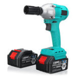 New 100-240V Li-ion Electric Wrench Brushless Impact Wrench Wood Work Power Tool with 2 Battery