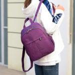 New Women Solid Nylon Waterproof Casual Satchel Backpack