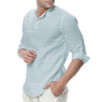 New INCERUN Men Cotton Button Neck Casual Slim Fit Shirt Tee Top