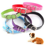 New PU Leather Dog Collars Diamante Collar Pet Bling Puppy Small Medium Large Spotty