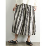 New Women Cotton Linen Striped Elastic Waist Trousers Pants