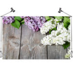 New 5x3FT White Purple Flowers Gray Wooden Wall Photography Backdrop Studio Prop Background