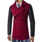 New Double Breasted Woolen Coat Pieced Leather Sleeve Pea Coats