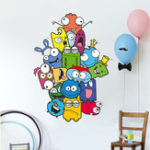 New Colorful Cartoon Wall Sticker Color Pencil Monster Wall Decals For Kids Bedroom