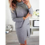 New Turtleneck Long Sleeve Belt Tie Bow Mini Dress