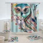 New Owl Printed Shower Curtain Non-Slip Rug Three Set Bath Products Bathroom Decor with Hooks Waterproof