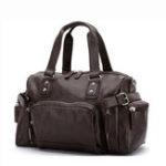 New Men PU Leather Vintage Large Capacity Handbag Outdoor Bag