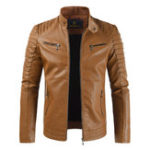 New Mens Zipper Faux Leather Fleece Liner Warm Slim Jacket