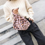 New Women Leisure Leopard Print Fuzzy Handbag Plush Bag