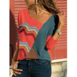 New Women Wave Striped Patchwork Asymmetrical Collar Blouse