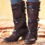 New Plus Size Vintage Buckle Straps Casual Zipper Mid Calf Boots