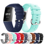 New KALOAD 8 Colors Silicone Diamond Pattern Smart Bracelet Watch Band Replacement Accessories For Fitbit Charge 3
