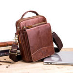 New Men Flap Crossbody Bag Casual Cowhide USB Charging Handbag