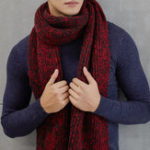 New Men Woman Winter Warm Thicken Knitted Gird Scarf Gradient