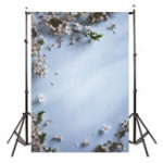 New 3x5FT White Flowers Blue Wooden Wall Photography Backdrop Studio Prop Background