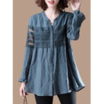 New Lace Patchwork Button Casual Shirts