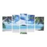 New 5Pcs Unframed Canvas Paint Seascape Beach Paintings Modern Home Wall Art Decor