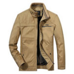 New Mens Casual Multi Pockets Thick Stand Collar Cotton Jacket
