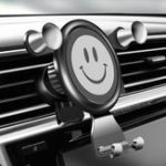 New Smile Face Car Gravity Air Vent Phone Holder ABS 360° Rotatable Bracket Stand for iPhone XS