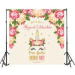 New 5x7FT Long Eyelashes Unicorn Flower Baby Birthday Photography Backdrop Studio Prop Background
