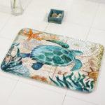 New Miracille Marine Style Door Mat Floor Carpet For Living Room Sea Turtle Pattern Coral Fleece Rug Anti-Slip Doormat Home Decor