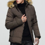New Mens Detachable Furry Hood Thick Warm Winter Padded Jacket