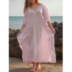 New Plus Size Bohemian V-neck Batwing Sleeve Women Maxi Dress