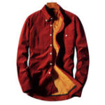 New Mens Corduroy Thick Fleece Warm Pocket Button down Shirts
