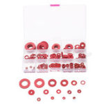 New Suleve™ 225Pcs Red Steel Paper Washer Insulation Pad Flat Gasket Spacers 15 Sizes Assortment