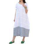 New Women Loose Striped Patchwork Crew Neck Short Sleeve Dress