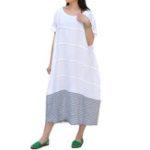 New Women Loose Striped Patchwork Crew Neck Short Sleeve Dress