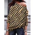 New Women Zebra Striped Print Off Shoulder Long Sleeve Blouse