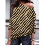 New Women Zebra Striped Print Off Shoulder Long Sleeve Blouse