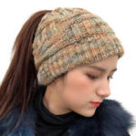 New Female Warm Knitted Hat Striped Ponytail Headband Woolen Cap