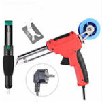 New Handskit 220V 60W EU Electric Tin Soldering Iron Automatic Send Tin Device Rework Station Desoldering Pump Solder Wire Welding Tool EU Plug