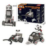 New 4 In 1 DIY RC Robot Toy Block Building Ifrared Control Radar Truck Rocket Launching Education Kit