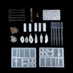New 77Pcs Resin Casting Mold Kit Silicone Mold Making Jewelry Pendant Craft DIY Set
