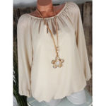 New Plus Size Brief Long Sleeve Solid Color Chiffon Blouse