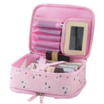 New Double-layer large-capacity Portable Cosmetic Bag With Mirror Wash Bag