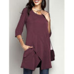 New Women Solid Color Asymmetrical Hem Half Sleeve Blouse