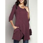 New Women Solid Color Asymmetrical Hem Half Sleeve Blouse