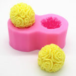 New Flexible 3D Rose Flower Ball Mould Soft Silicone Soap Candle Making DIY Mold