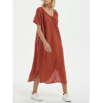 New Women Solid Color Short Sleeve Crew Neck Split Hem Dress