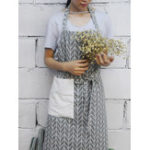 New Japanese Backless Belt Stitching Pocket Apron Dress