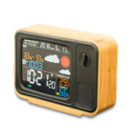 New Digital USB Wifi Weather Forecast Station Desk Bamboo Alarm Clock Temperature Humidity APP Control