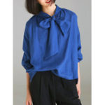 New Casual Women V-Neck Loose Bow-knot Long Sleeve Blouse