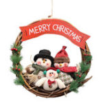 New Christmas Rattan Wreath Wall Door Decorations Santa Claus Snowman Bear Garland