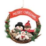 New Christmas Rattan Wreath Wall Door Decorations Santa Claus Snowman Bear Garland