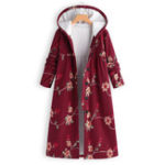 New Plus Size Floral Print Fleece Hooded Long Coats